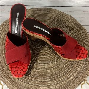 {DONALD J PLINER} - WELL LOVED  RED WEDGE SANDALS